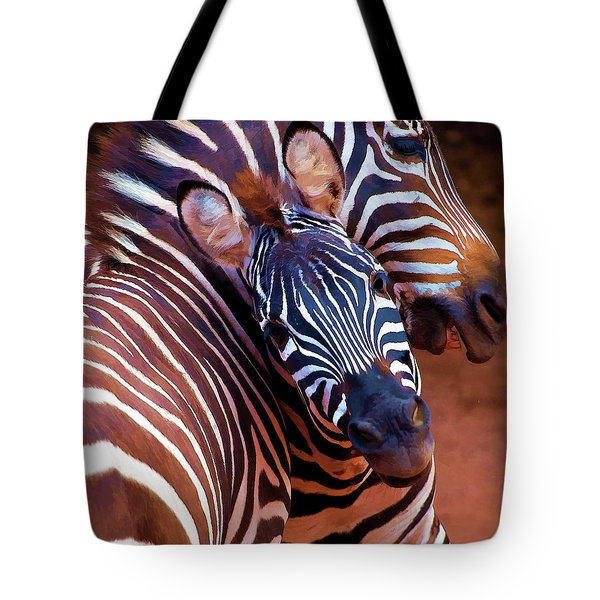 Tote Bag featuring the mixed media Two Zebras Playing With Each Other by OLena Art Brand