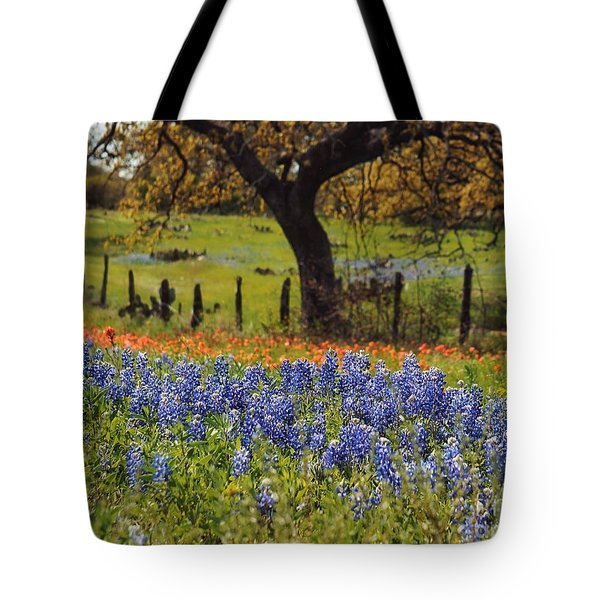 Tote Bag featuring the painting Tx Tradition, Bluebonnets by Lisa Spencer