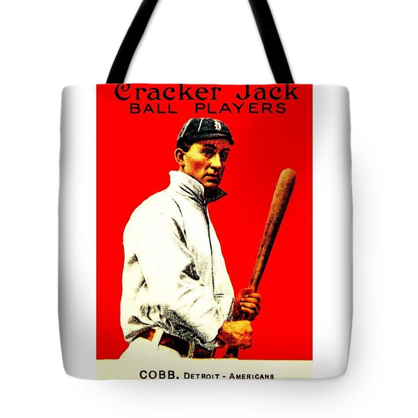 Tote Bag featuring the painting Ty Cobb 1914 Baseball Card by Peter Gumaer Ogden