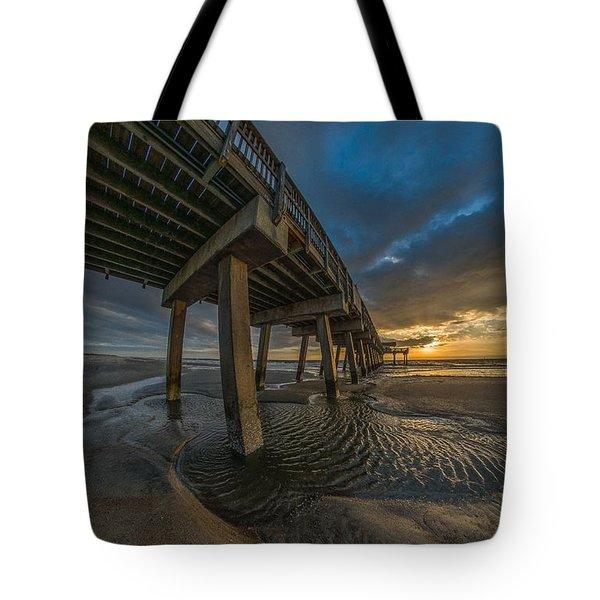 Tybee Island Beach Pier  Tote Bag
