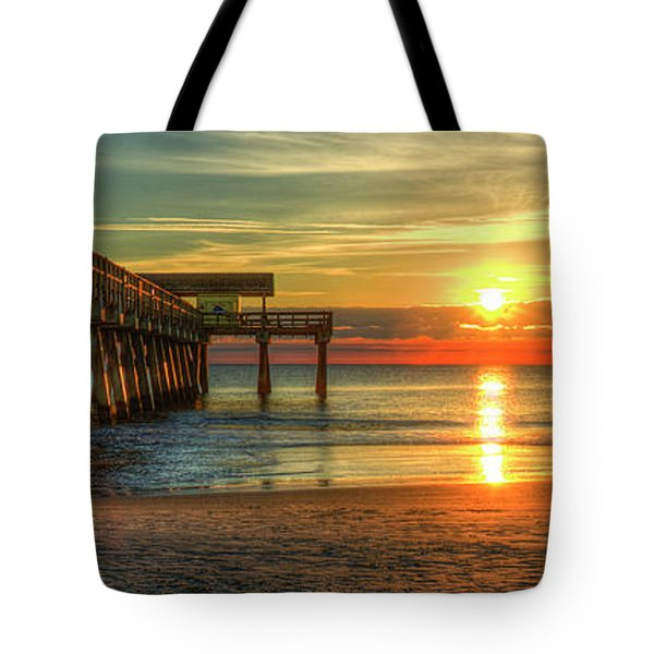 Tote Bag featuring the photograph Tybee Pier Panorama Sunrise Art by Reid Callaway