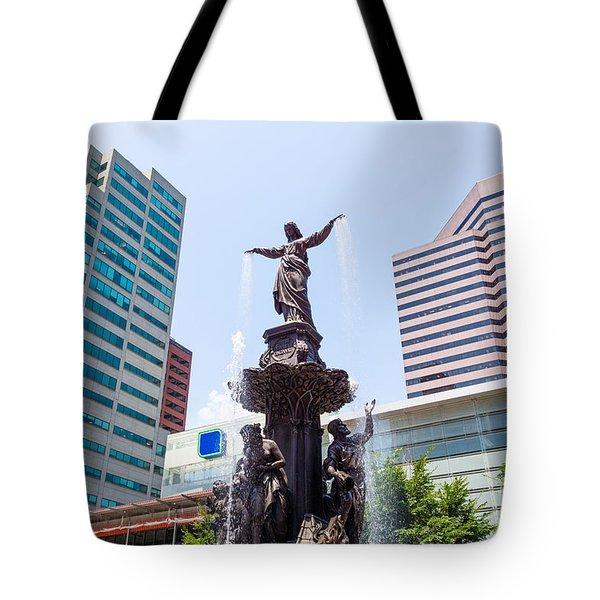 Tyler Davidson Fountain Cincinnati Ohio  Tote Bag by Paul Velgos