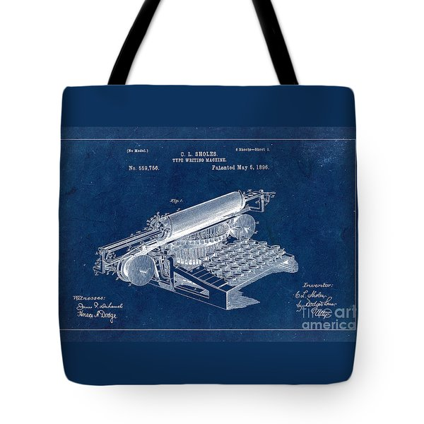 Type Writing Machine Patent From 1896 - Blue Tote Bag