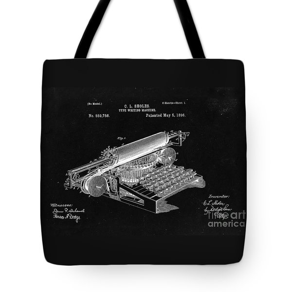 Type Writing Machine Patent From 1896  - Black Tote Bag