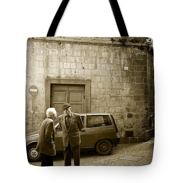 Tote Bag featuring the photograph Typical Italian Street Scene In Sepia by IPics Photography