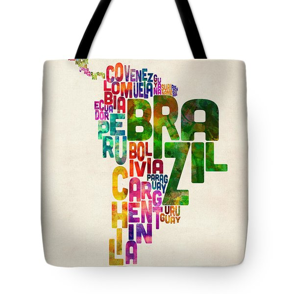 Typography Map Of Central And South America Tote Bag by Michael Tompsett