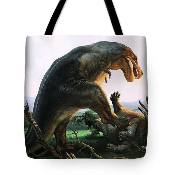 Tyrannosaurus Rex Eating A Styracosaurus Tote Bag by William Francis Phillipps