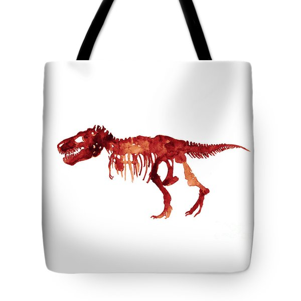 Tyrannosaurus Rex Skeleton Poster, T Rex Watercolor Painting, Red Orange Animal World Art Print Tote Bag by Joanna Szmerdt