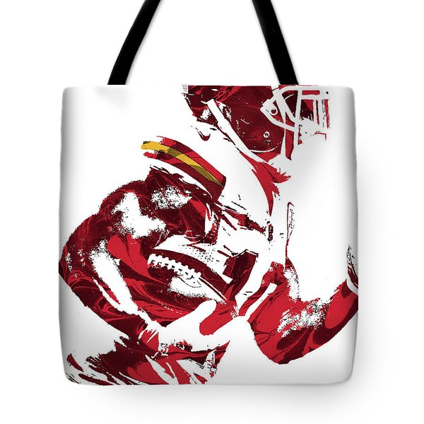 Tote Bag featuring the mixed media Tyreek Hill Kansas City Chiefs Pixel Art 1 by Joe Hamilton