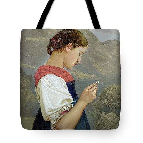 Tyrolean Girl Contemplating A Crucifix Tote Bag