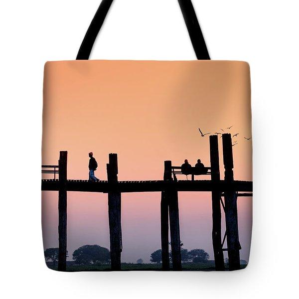 U-bein Bridge At Dawn Tote Bag