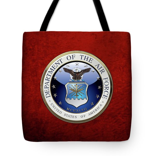 U. S.  Air Force  -  U S A F Emblem Over Red Velvet Tote Bag
