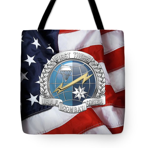 U. S.  Air Force Combat Control Teams - Combat Controller C C T Badge Over American Flag Tote Bag by Serge Averbukh