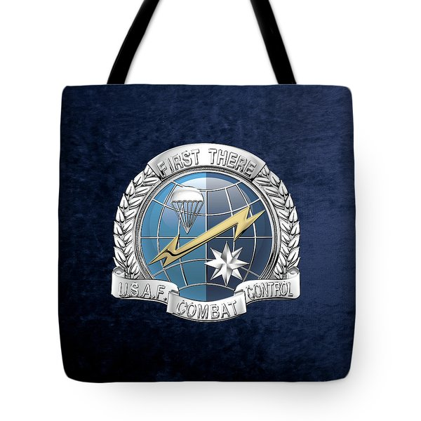 U. S.  Air Force Combat Control Teams - Combat Controller C C T Badge Over Blue Velvet Tote Bag by Serge Averbukh