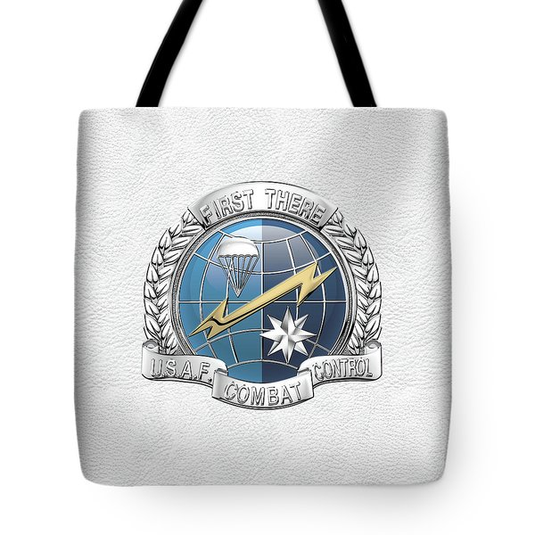 U. S.  Air Force Combat Control Teams - Combat Controller C C T Badge Over White Leather Tote Bag by Serge Averbukh