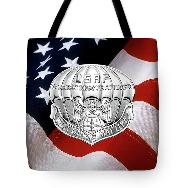 U. S.  Air Force Combat Rescue Officer - C R O Badge Over American Flag Tote Bag by Serge Averbukh