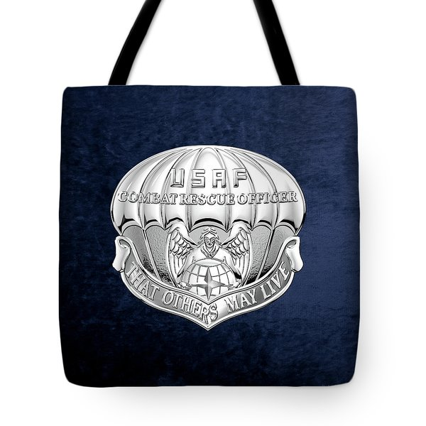 U. S.  Air Force Combat Rescue Officer - C R O Badge Over Blue Velvet Tote Bag by Serge Averbukh