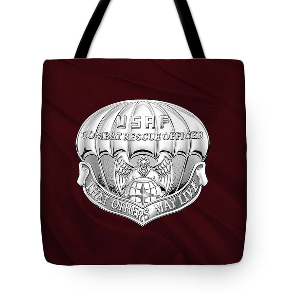 U. S.  Air Force Combat Rescue Officer - C R O Badge Over Maroon Felt Tote Bag by Serge Averbukh