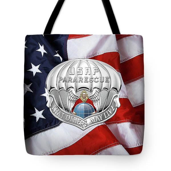 U. S.  Air Force Pararescuemen - P J Badge Over American Flag Tote Bag by Serge Averbukh