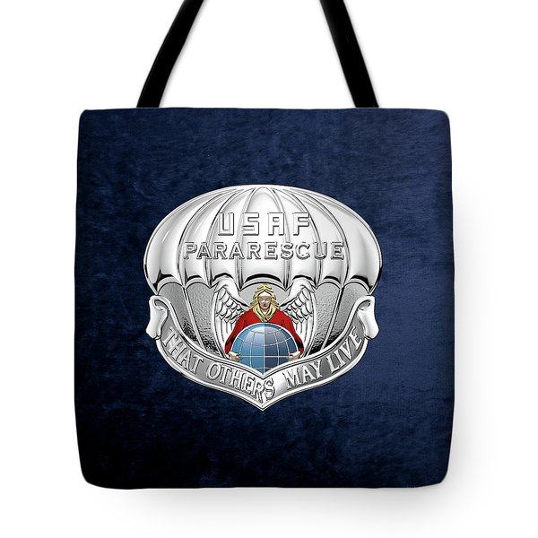 U. S.  Air Force Pararescuemen - P J Badge Over Blue Velvet Tote Bag by Serge Averbukh