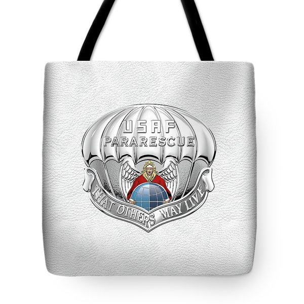 U. S.  Air Force Pararescuemen - P J Badge Over White Leather Tote Bag by Serge Averbukh