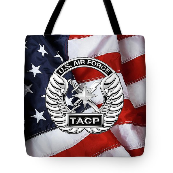 Tote Bag featuring the digital art U. S.  Air Force Tactical Air Control Party -  T A C P  Badge Over American Flag by Serge Averbukh