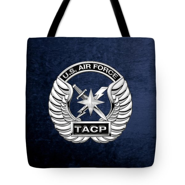 Tote Bag featuring the digital art U. S.  Air Force Tactical Air Control Party -  T A C P  Badge Over Blue Velvet by Serge Averbukh