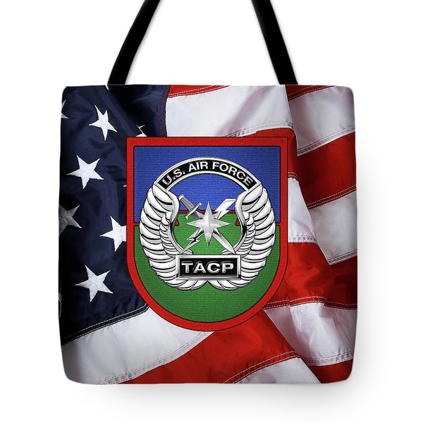 Tote Bag featuring the digital art U. S.  Air Force Tactical Air Control Party -  T A C P  Beret Flash With Crest Over American Flag by Serge Averbukh
