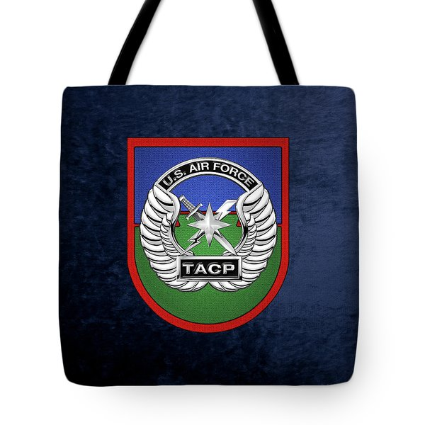 Tote Bag featuring the digital art U. S.  Air Force Tactical Air Control Party -  T A C P  Beret Flash With Crest Over Blue Velvet by Serge Averbukh