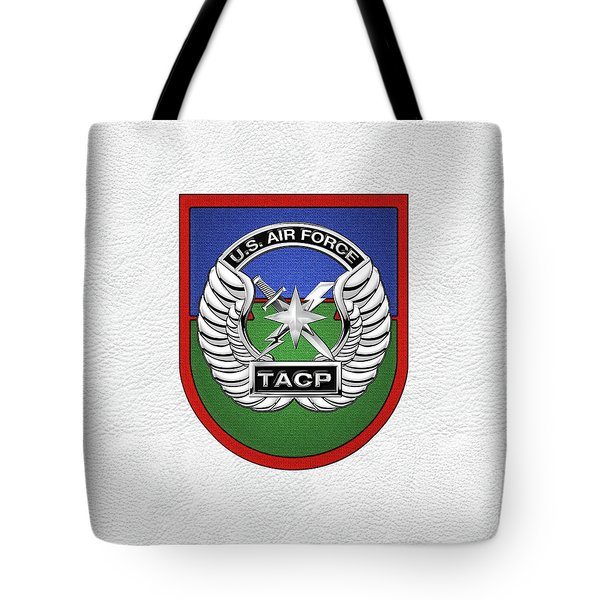 Tote Bag featuring the digital art U. S.  Air Force Tactical Air Control Party -  T A C P  Beret Flash With Crest Over White Leather by Serge Averbukh