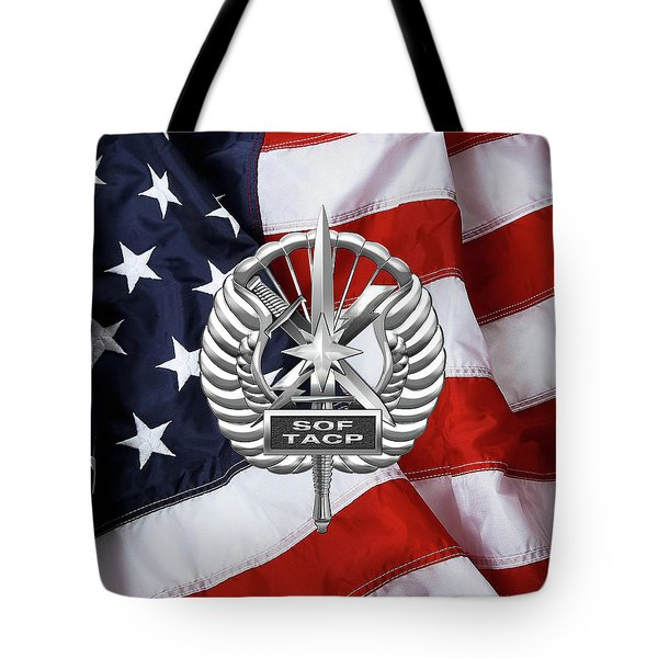 Tote Bag featuring the digital art U. S.  Air Force Tactical Air Control Party - Usaf Special Tactics Tacp Badge Over American Flag by Serge Averbukh
