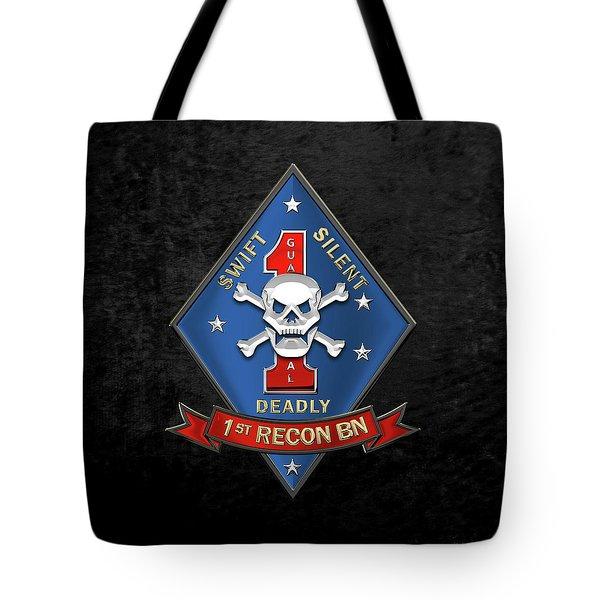 U S M C  1st Reconnaissance Battalion -  1st Recon Bn Insignia Over Black Velvet Tote Bag