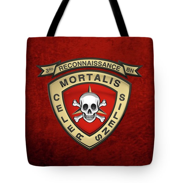 U S M C  3rd Reconnaissance Battalion -  3rd Recon Bn Insignia Over Red Velvet Tote Bag
