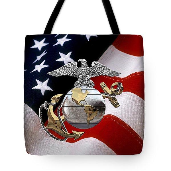 U S M C Eagle Globe And Anchor - C O And Warrant Officer E G A Over U. S. Flag Tote Bag