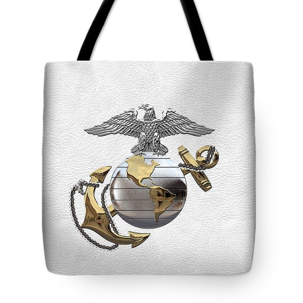 U S M C Eagle Globe And Anchor - C O And Warrant Officer E G A Over White Leather Tote Bag