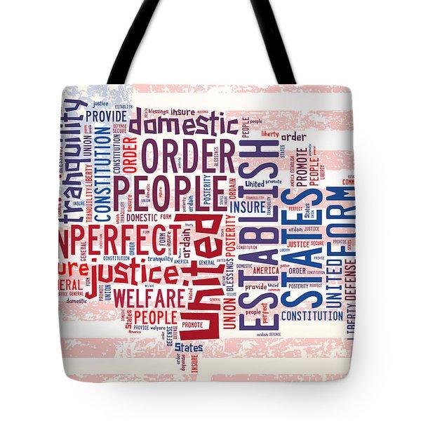 U S Map Preamble Word Cloud4 Tote Bag