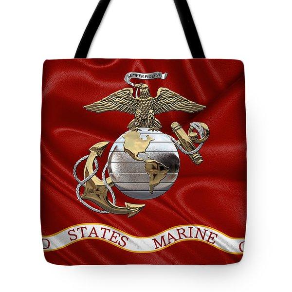 U. S.  Marine Corps - U S M C Eagle Globe And Anchor Over Corps Flag Tote Bag