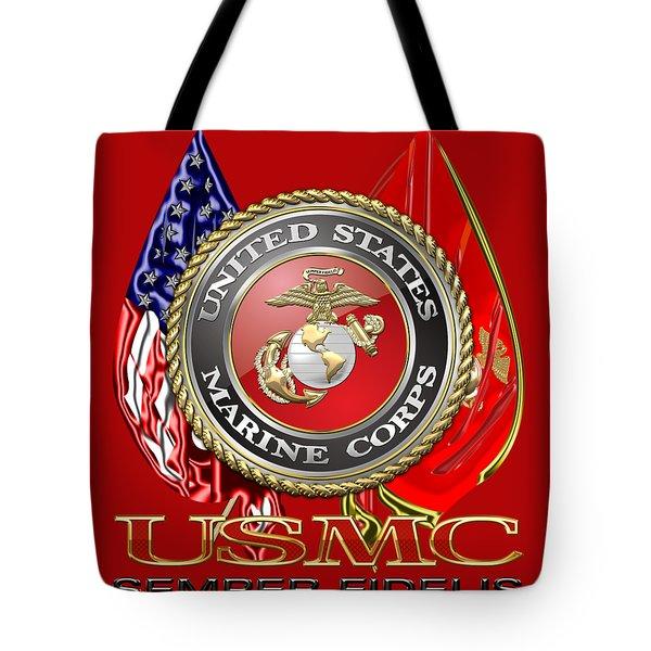 U. S. Marine Corps U S M C Emblem On Red Tote Bag