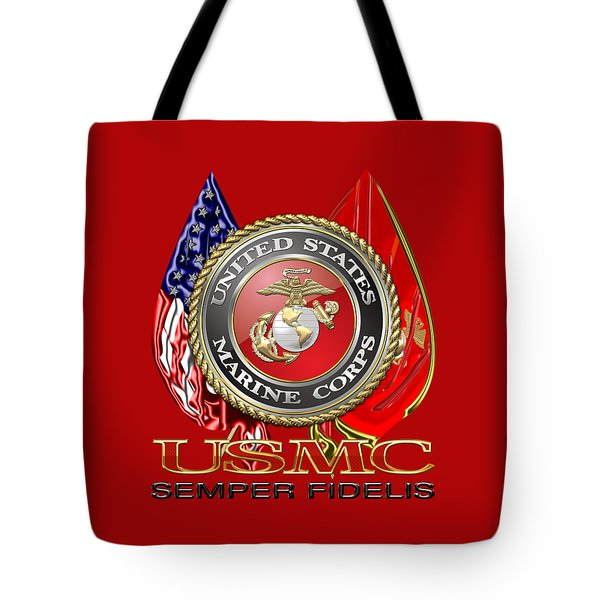U. S. Marine Corps U S M C Emblem On Red Tote Bag