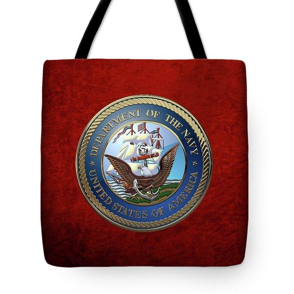 U. S.  Navy  -  U S N Emblem Over Red Velvet Tote Bag