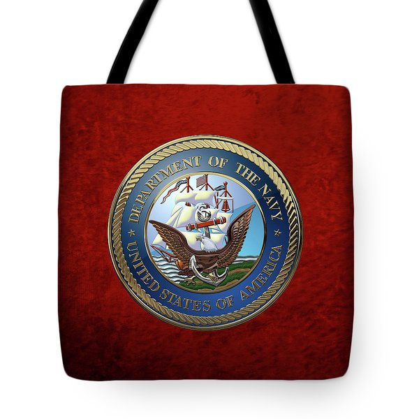 U. S.  Navy  -  U S N Emblem Over Red Velvet Tote Bag