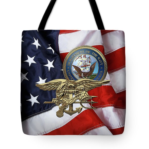 U. S. Navy S E A Ls Trident Over American Flag  Tote Bag