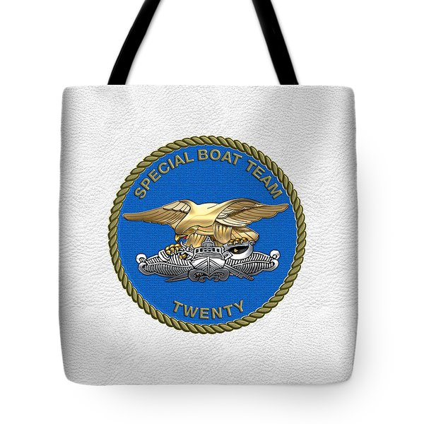 U. S. Navy S W C C - Special Boat Team 20   -  S B T 20   Patch Over White Leather Tote Bag
