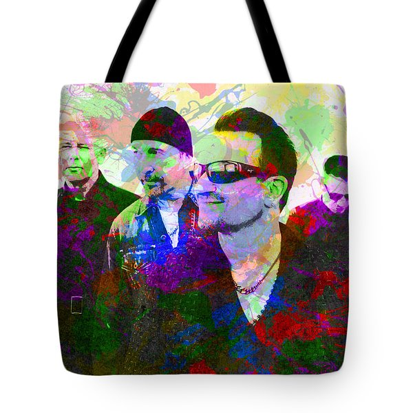 U2 Band Portrait Paint Splatters Pop Art Tote Bag