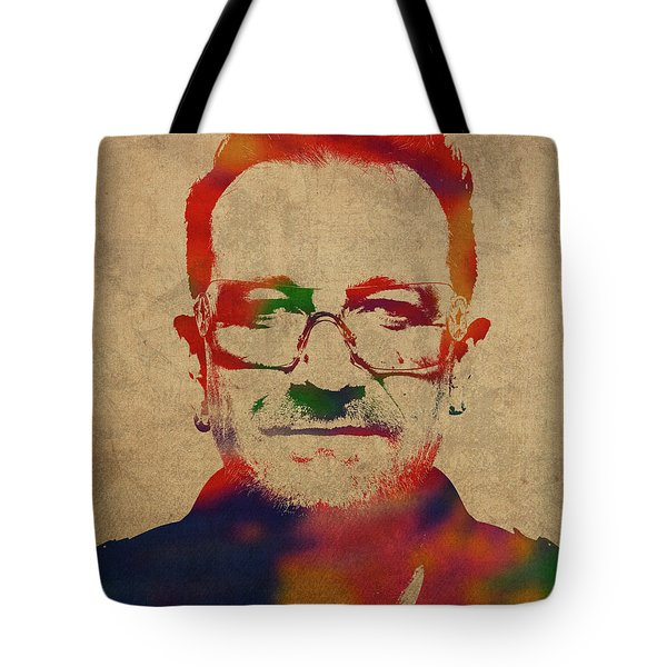 U2 Bono Watercolor Portrait Tote Bag