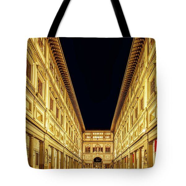 Tote Bag featuring the photograph Uffizi At Twilight by Andrew Soundarajan