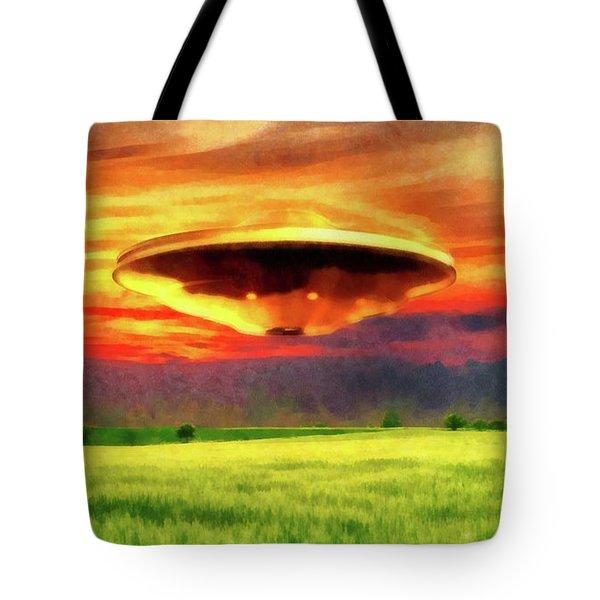 Ufo At Sunset Tote Bag