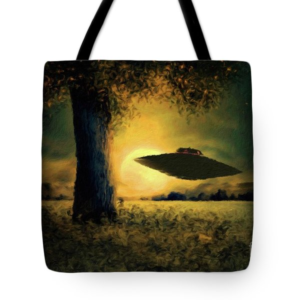 Ufo At Twilight By Raphael Terra And Mary Bassett Tote Bag