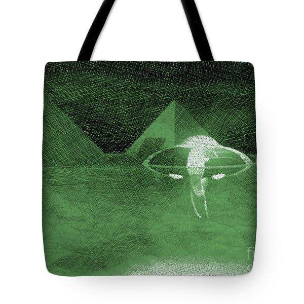 Ufo Near Pyramids Tote Bag