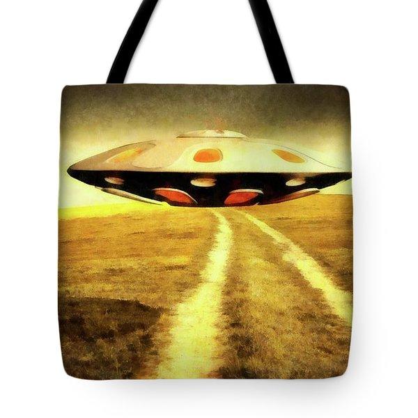 Ufo Over Path Tote Bag